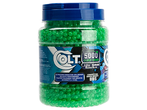 Colt Licensed Premium 6mm High Grade Precision Airsoft BBss - 0.12g Green (Quantity: 5000 Rounds)