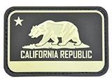 Hazard 4 California Bear Flag Rubber Hook and Loop Patch (Color: Glow in the Dark)