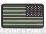 US Flag PVC Hook and Loop Rubber Patch (Color: Reverse / Foliage)