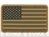 US Flag PVC Hook and Loop Rubber Patch (Color: Regular / Tan and Brown)