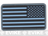 US Flag PVC Hook and Loop Rubber Patch (Color: Reverse / Navy Blue)