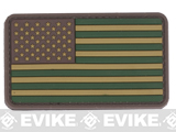 US Flag PVC Hook and Loop Rubber Patch (Color: Regular / OD Green)