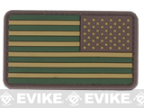 US Flag PVC Hook and Loop Rubber Patch (Color: Reverse / OD Green)