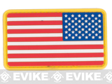US Flag PVC Hook and Loop Rubber Patch (Color: Reverse / Red White & Blue)