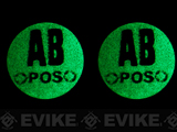 z Matrix Glow in the Dark IFF Hook and Loop Blood Type Patch - Set of 2 / AB Pos