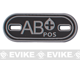 Matrix PVC Oval Blood Type Hook and Loop  Patch - AB POS / Black