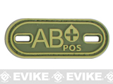 Matrix PVC Oval Blood Type Hook and Loop Patch - AB POS / OD Green
