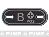 Matrix PVC Oval Blood Type Hook and Loop Patch - B POS / Black