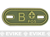 Matrix PVC Oval Blood Type Hook and Loop Patch - B POS / OD Green