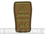 Very Tactical Beer Drinking Infidel PVC Hook and Loop Patch (Color: Tan)