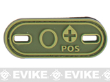 Matrix Oval Blood Type PVC Hook and Loop Patch (Type: O POS / OD Green)