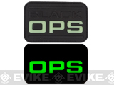 Black OPS Glow in the Dark PVC IFF hook & Loop Patch - Black
