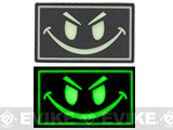 Smiley Face Glow in the Dark PVC IFF Velcro Patch - Black