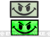 Matrix Smiley Face Glow in the Dark PVC IFF Hook and Loop Patch (Color: Green)
