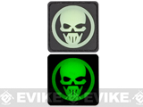 Skull 30mm Glow in the Dark PVC Velcro IFF Patch - Black