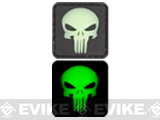 Skull 20mm Glow in the Dark PVC Velcro IFF Patch - Black