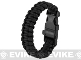 Evike.com Multi-Function Survival Paracord Fire Starter & Whistle Bracelet  - Black / 10