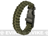 Evike.com Multi-Function Survival Paracord Fire Starter & Whistle Bracelet  - Olive Drab / 10