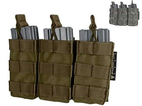 Phantom MOLLE Pouches - Tactical Open Top Triple AR / M4 / M16 Mag Pouch (Color: Tan)