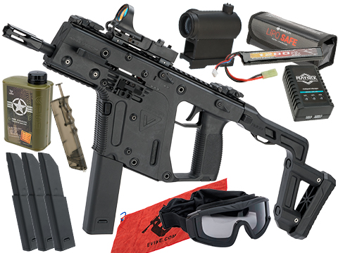 KRISS USA Licensed Kriss Vector Airsoft AEG SMG Rifle by Krytac (Model: Black / <350 FPS / Essential Pack)