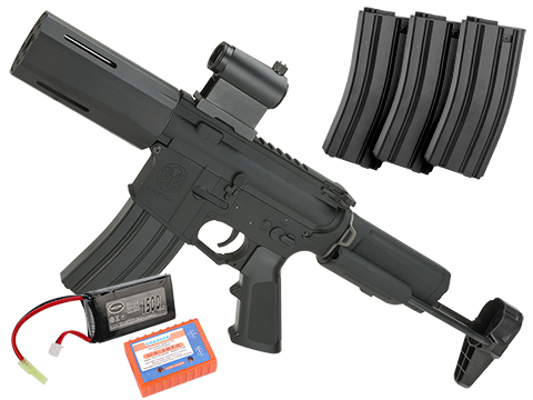 Krytac Full Metal Alpha SDP Airsoft AEG Rifle (Package: Gun + 3 Extra Mags + 7.4v Battery Set)