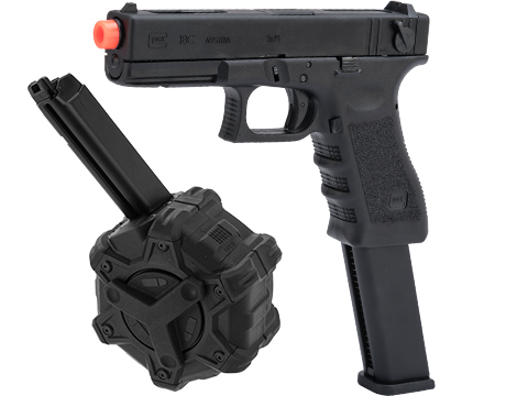 Elite Force Fully Licensed GLOCK 18C Select Fire Semi / Full Auto Gas Blowback Airsoft Pistol w/ Extended Mag (Type: Green Gas / Why Reload? Package)