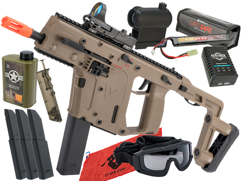 KRISS USA Licensed Kriss Vector Airsoft AEG SMG Rifle by Krytac (Model: Flat Dark Earth / Essential Pack)