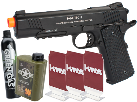 KWA Full Metal M1911 NS2 PTP w/ Railed Frame Airsoft Gas Blowback - MKII (Color: Black / Stay at Home Package)