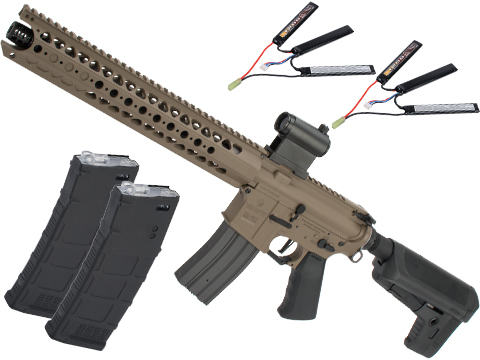 Krytac War Sport Licensed LVOA-S M4 Carbine Airsoft AEG Rifle (Model: Flat Dark Earth / 400 FPS / Contractor Package)