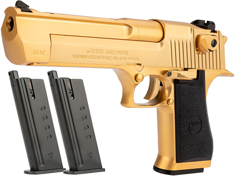 WE-Tech Desert Eagle .50 AE Full Metal Gas Blowback Airsoft Pistol by Cybergun (Color: Gold / Reload Package)