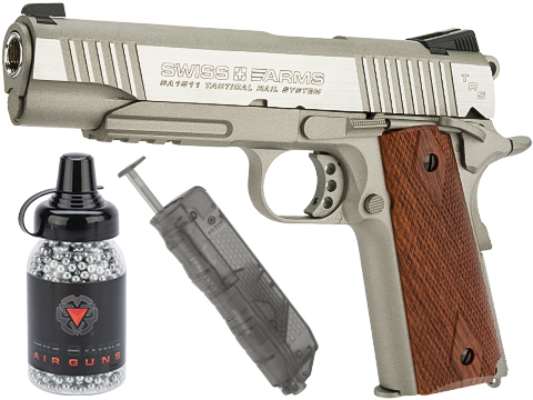 Swiss Arms SA 1911 MRP CO2 Powered Blowback 4.5mm Air Pistol (Air Gun) (Color: Silver / Starter Package)