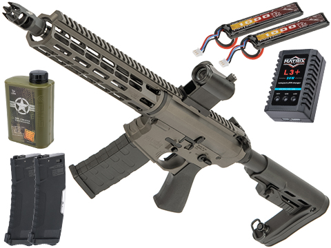 EMG Falkor Blitz Compact M4 w/ eSilverEdge Gearbox Airsoft AEG Training Rifle (Color: Falkor Grey / RS2 Stock / Tactical Package)