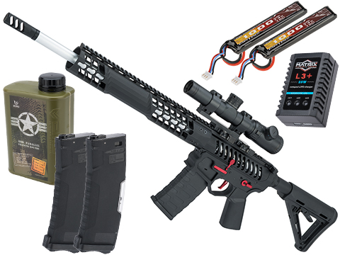 EMG F-1 Firearms BDR-15 3G AR15 2.0 eSilverEdge Full Metal Airsoft AEG Training Rifle (Model: Black - Red / Magpul 400 FPS / Tactical Package)