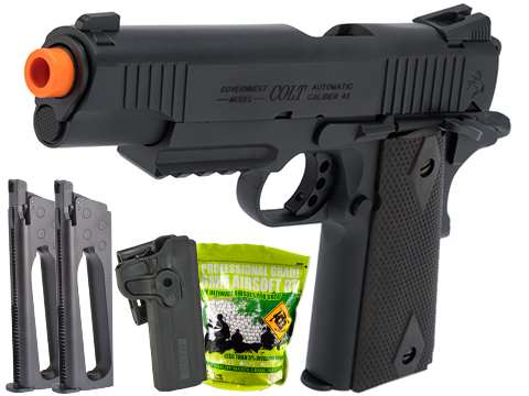 Colt Licensed 1911 Tactical Full Metal CO2 Airsoft Gas Blowback Pistol by KWC (Model: Black / Carry Package)