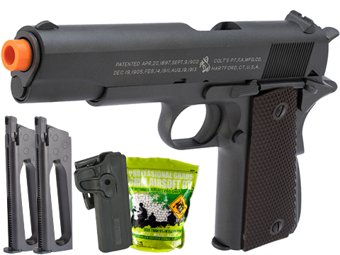 Colt 100th Anniversary Licensed Full Metal M1911 A1 Airsoft CO2 GBB by KWC (Version: 370 FPS Version / Carry Package)