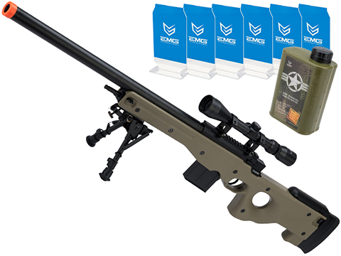 Evike.com Stay at Home Weapon Training / Target Shooting Airsoft Pack (Model: CYMA Standard L96 Airsoft Sniper Rifle - Tan)