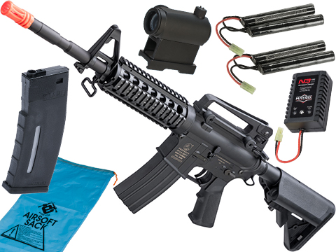 Cybergun Colt Licensed Polymer M4 Airsoft AEG w/ Metal Gearbox (Model: M4A1 RIS / 360 FPS / Go Airsoft Package)