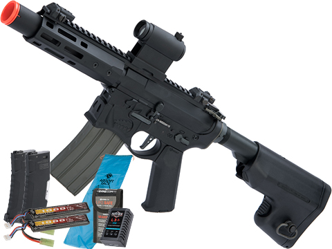 EMG / Sharps Bros Warthog Licensed Full Metal Advanced  Airsoft AEG Rifle (Color: Black / 7 SBR / Go Airsoft Package)