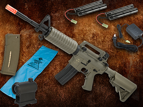 Go Airsoft Starter Package Avengers BioHazard M4 Lipo Ready Airsoft AEG Rifle (Model: Dark Earth M4A1)