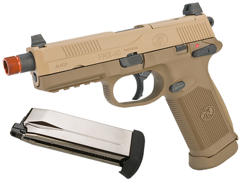 Cybergun FN Herstal Licensed FNX-45 Tactical Airsoft Gas Blowback Pistol by VFC (Color: Dark Earth / Add Extra Magazine)