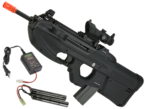 G&G FN Herstal Licensed FN2000 Airsoft AEG Rifle (Package: Black / Tactical Long Barrel / Add 9.6 Butterfly Battery + Smart Charger)