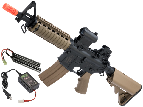 Colt Licensed M4 CQB-R SOPMOD LiPo Ready Airsoft AEG w/ Metal Gearbox (Package: Tan / Add 9.6v NiMH Battery + Charger)
