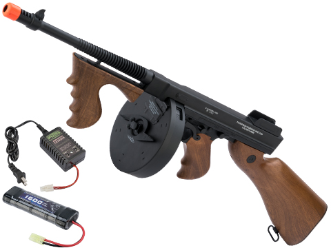 Cybergun Licensed Thompson Chicago Typewriter Airsoft AEG Rifle w/ Drum Mag (Package: Add 9.6v NiMH Battery + Charger)