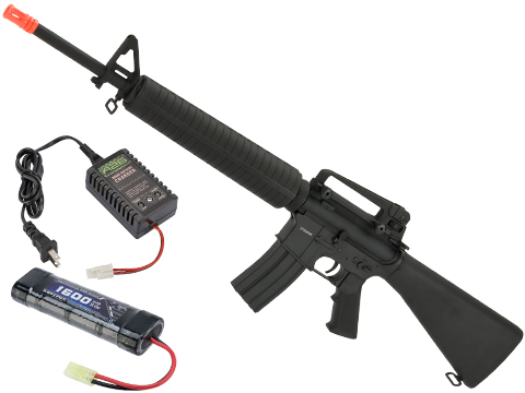 CYMA Sport Full Metal M16 A3 Airsoft AEG Rifle (Package: Add 9.6v NiMH Battery + Charger)