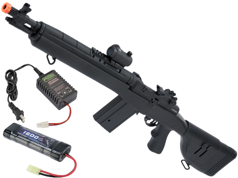 CYMA Sport SOCOM 16 M14 Full Size Airsoft AEG (Package: Black / Standard / Add Red Dot & 9.6v Battery + Charger)