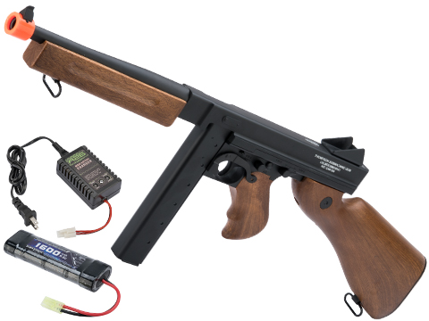Licensed Thompson M1A1 Airsoft AEG Rifle by King Arms / CYMA w/ Metal Receiver & Gearbox (Package: Add Battery + Charger)