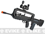 FAMAS F1 Bullpup Airsoft AEG Rifle w/ Metal Gear Box, Red Dot & Scope Rail Package Deal
