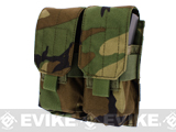 Modular MOLLE Ready Tactical Double M4 M16 Magazine Pouch - Woodland Camo