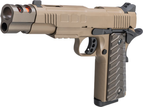 KJW 656T Tactical 1911 Gas Blowback Pistol w/ CNC Grip & Muzzle Compensator (Color: Tan)