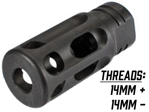 PTS GoGun SuperComp Rifle Brake Airsoft Flash Hider (Thread: 14mm Positive)